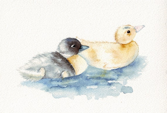 Ducklings Art N0. 0048 watercolor painting (print)