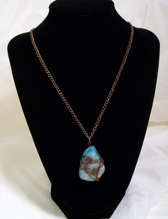 Peace and Happiness Blue Lace Agate Necklace