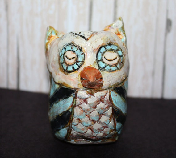 owl Folk Art clay sculpture primitive style  antique finish for halloween decor