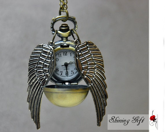Sale-Enchanted Golden Snitch WATCH necklace silver Double side wings harry potter