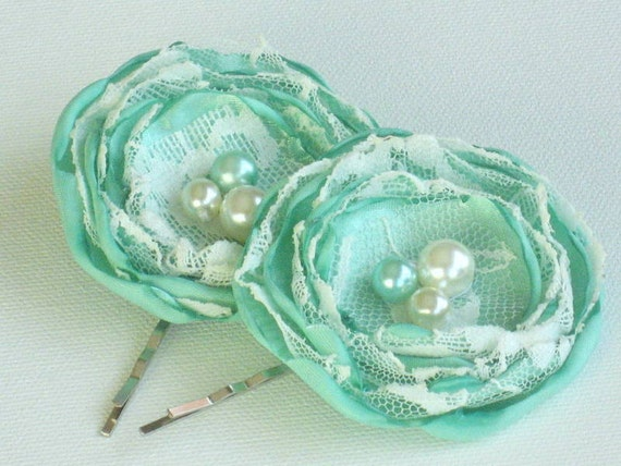 Mint Green Flowers Bobby Pins