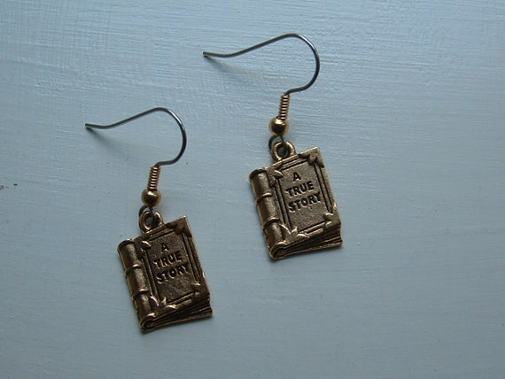Book Earrings - gold-plated pewter charms - great teacher gift