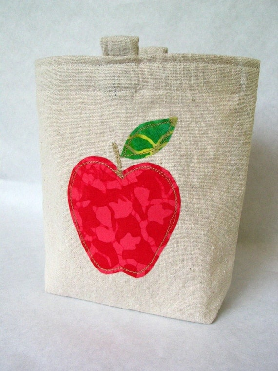 Batik Apple Appliqued Reusable Sandwich or Snack Bag