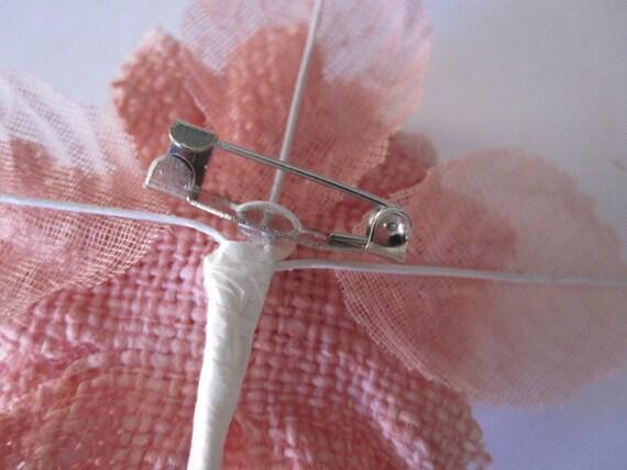 1 Малый - Постельное белье и марлевые цветов - розовый лиловый - Шелк, Дамских, Измененные Couture, волос Цветы, Pin