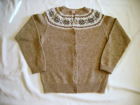 Vintage JOHN TULLOCH  Scottish  Wool Shetland  Button Front Cardigan  size Small