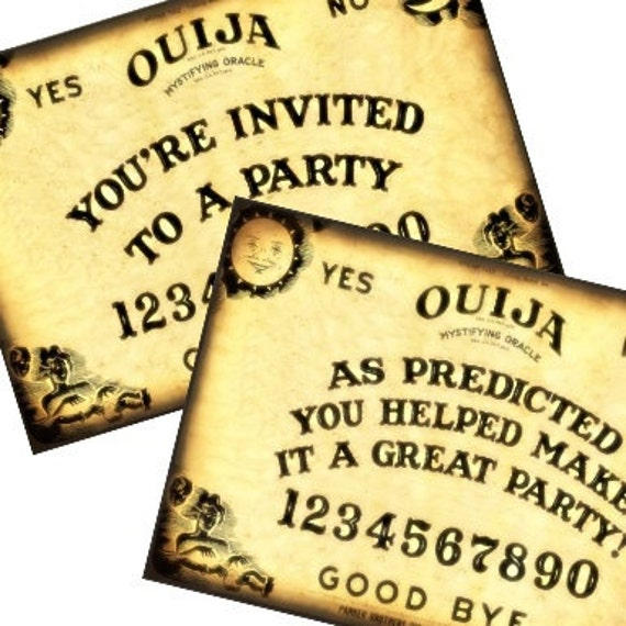 Ouija Board Party Halloween Invitation and Thank You Post Cards 4x6 - Tags - tags greeting cards postcard ATC ACEO - U Print 300dpi jpg