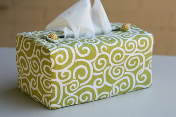 Green n white swirl tissue box cover