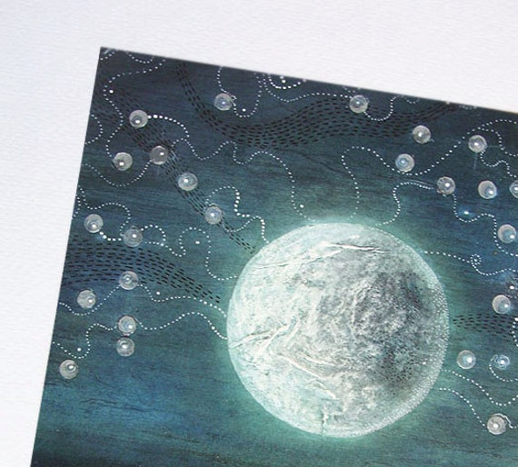 Halloween FREE SHIPPING - Blue Moonlight - Indigo - Original Watercolor  - ooak