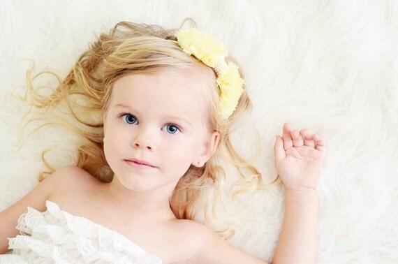Пастельные Желтый шифон Лук с жемчугом Stretchy Повязка - Chic Couture - Бесплатный судна Промо