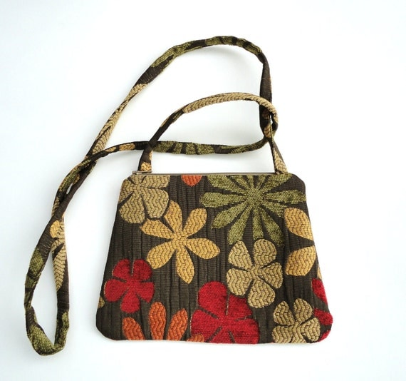 Crossbody Bag Soft Earthy Florals on Brown