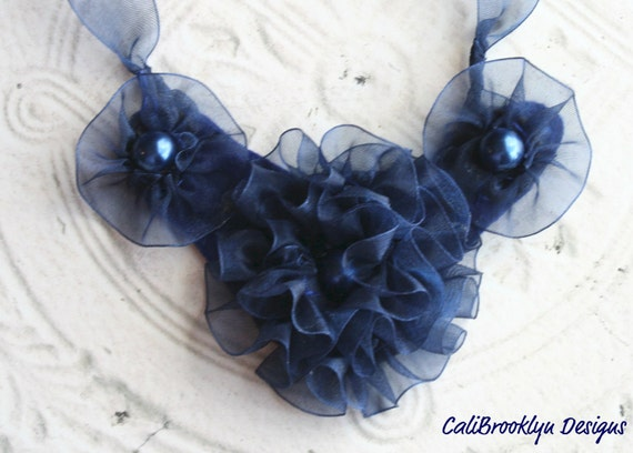 Navy Blue Carnation Bib