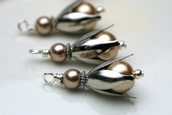 6 Piece Silver Tulip with Golden Pearl Dangle Bead Drop Charm Set