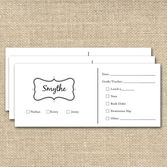 School Money Envelopes or Note Envelopes,  Family Name Tag design