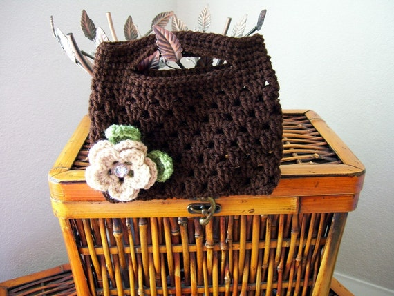 Crocheted Coffee Clutch  Purse with Removable Buff Crochet Flower, Gem Button Center