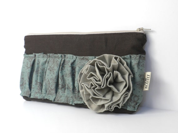 Large Linen Clutch With Ruffles & Hand-sewn Flower: The Obnoxious One In Chocolate Dream