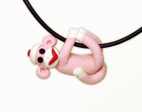 Sock Monkey Pendant Hand Sculpted Pink Girl in Polymer Clay