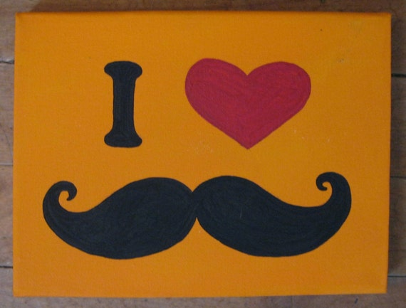 I Heart Moustaches Painting