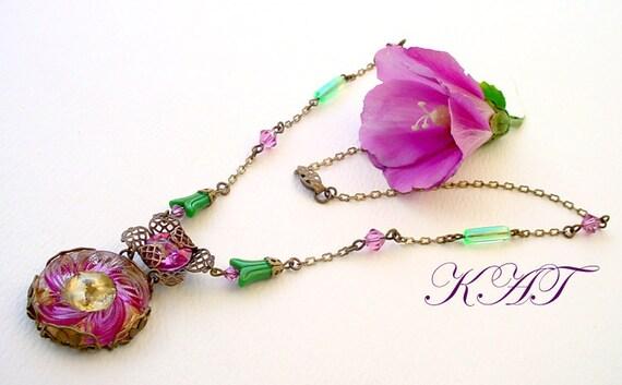 Brass Czech Necklace Button Glass Swarovski by Katofmanycolors from etsy.com