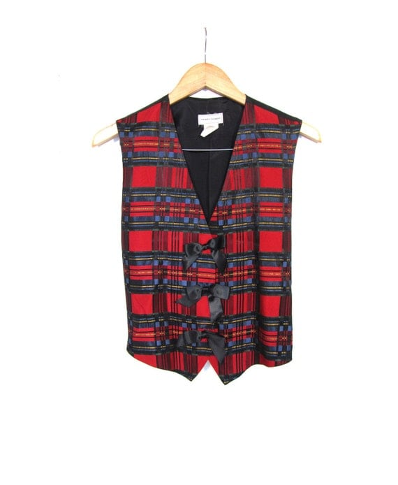 Vintage 90s Preppy Red Tartan Plaid Bow Vest s m