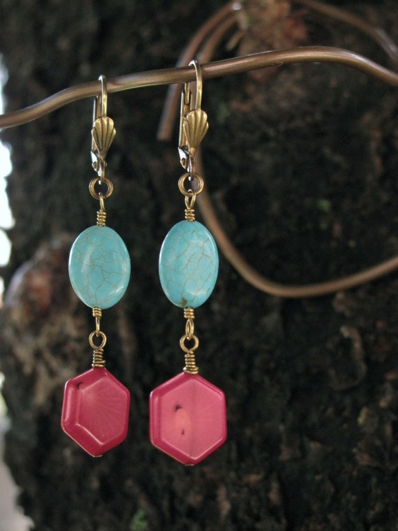 Turquoise and Bamboo Coral Earrings Land and Sea by bajunajewelry from etsy.com