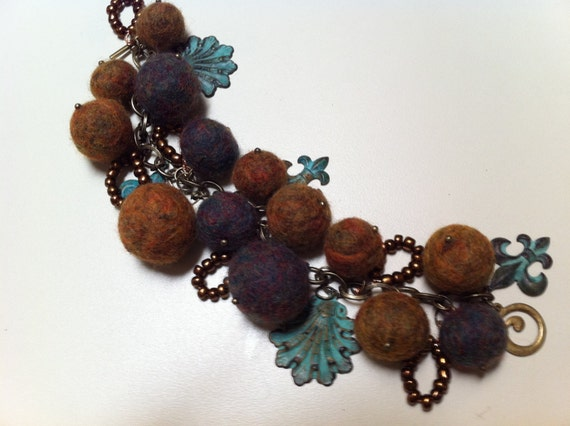 Bracelet Patina Embellished Felted Ball and Beads