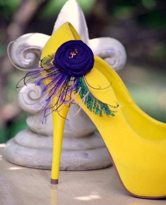Shoe clips Statement handmade fashion Couture Bride Stylish Bride Pin Green Teal Tan Orange Elegant Winter Summer Fall Autumn Gifts