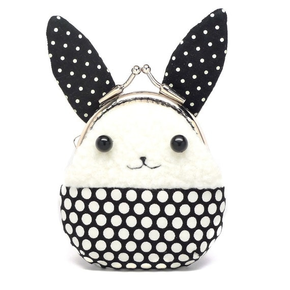 Cute Coin Purse, Little Bunny Animal, Kawaii, Kisslock Metal Clasp Frame, Change Pouch, Black White Polka Dot Long Plush Rabbit Ears
