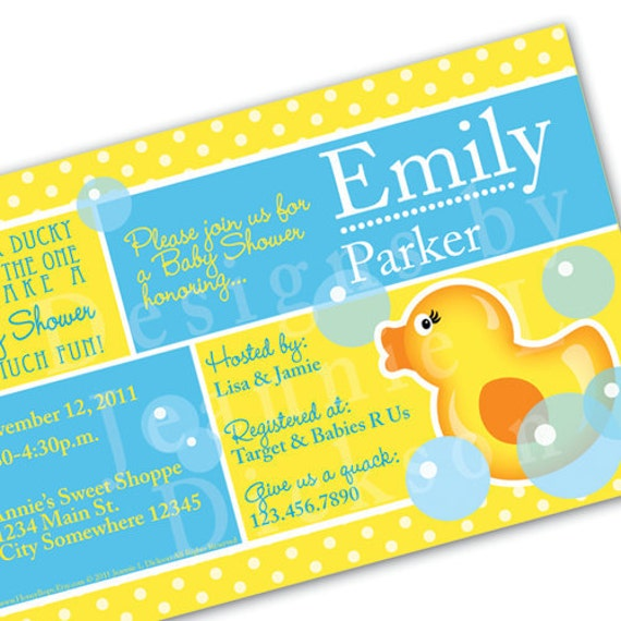 Printable Ducky Invitation for your next Baby Shower by HoneyBops from etsy.com