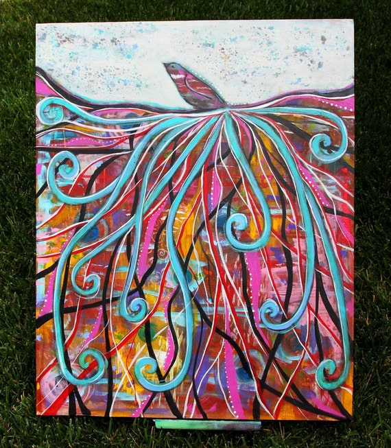 Show Your Colors  -  24 x 30 Original abstract Modern Art, bird painting