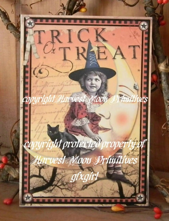 Primitive Halloween Postcard - Bella Luna