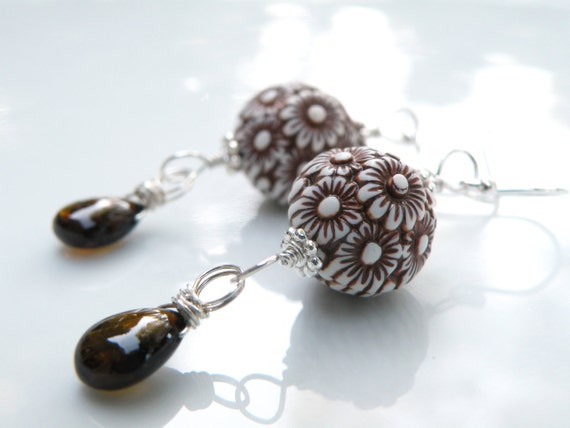 Brown Floral And Tourmaline Earrings, Sterling Silver, Flower, Vintage Beads, Handmade Earrings