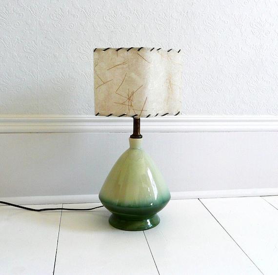 Green Mid Century Pottery Lamp