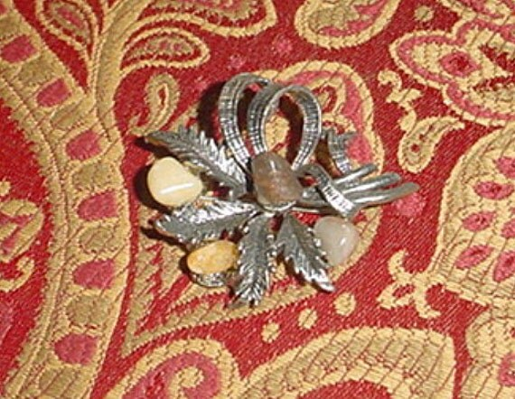 Brooch Vintage Miracle Style Silver Agate
