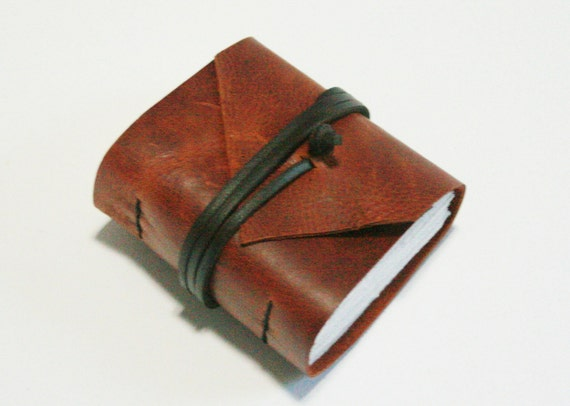 Mini Leather Journal, Chunky Hand-Bound Marbled Red Brown 3 x 3.25 Journal by The Orange Windmill on Etsy