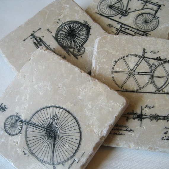 Coasters Vintage Bicycles on Stone Set of 4