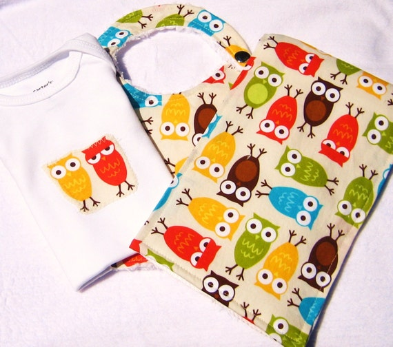 baby gift set owl bodysuit bib burp cloth