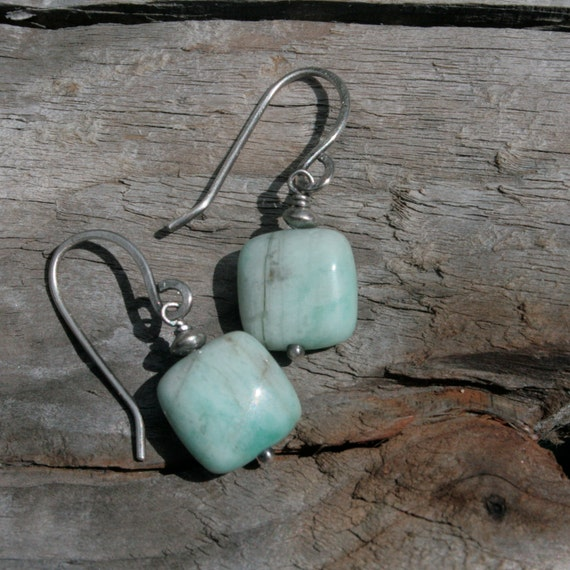 Arctic Ice Earrings with Amazonite and Sterling Silver