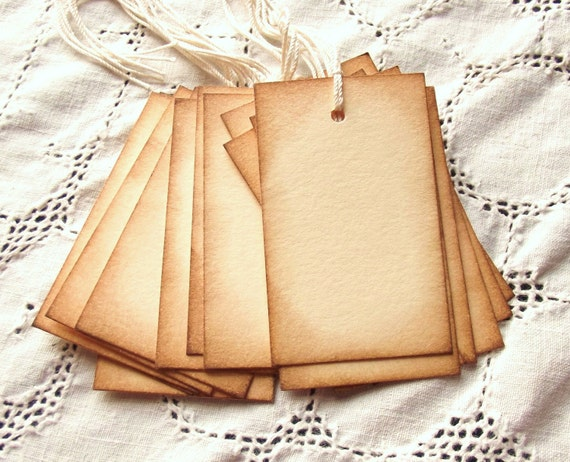 Blank Tags - Hand Aged, Vintage Inspired, Manila & Brown -15-