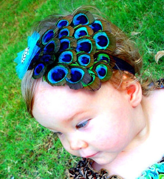 PEACOCK FEATHER HEADBAND Turquoise & Brown.... fits newborn baby, toddler, big girl or women