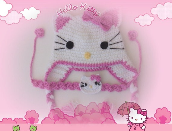 Crochet Kitty Hat and headband -Crochet Baby  Hat  - for Baby or Toddler