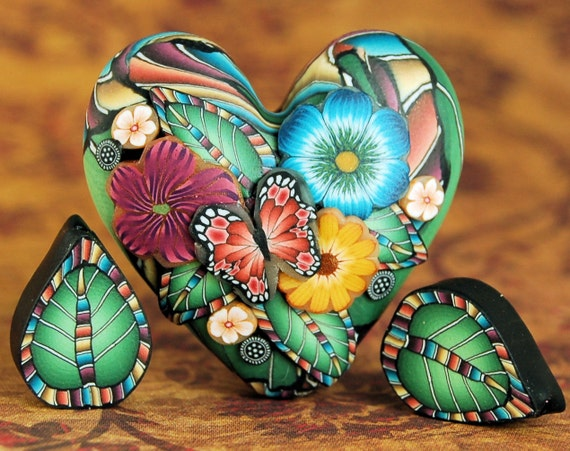Polymer Clay Dimensional Heart Focal Bead with 2 Matching Leaf Beads