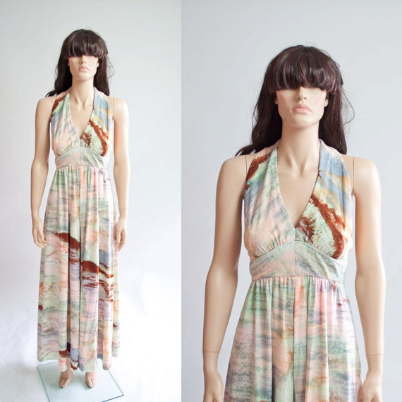 Vintage 70s Jumpsuit / Halter Top / Abstract by MariesVintage