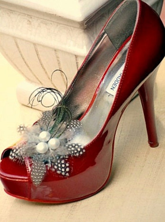 Shoe Clips Set chic Feathers' n Pearls Special Day Bride Bridesmaid Wedding Couture Statement Stunning Elegant Edgy Fun Summer Fall Fall