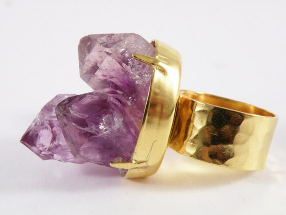 Gold Plated Amethyst  Cluster Ring