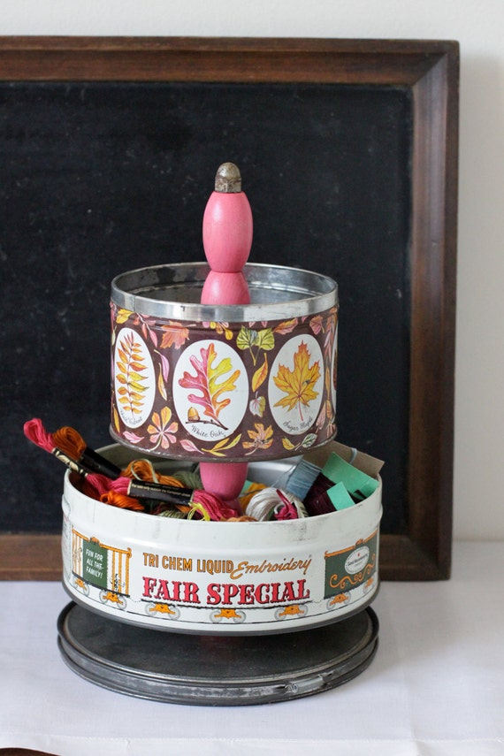 Sewing  Caddy Organizer from Vintage Tin Canisters