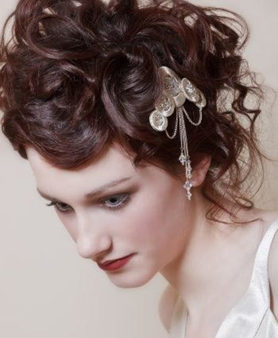 Art Deco style silver hair comb with draped chains From LucyMarshallVintage
