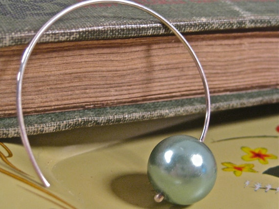 Green Pearl Earring, Sterling Silver hoop  - The Lucy Earring