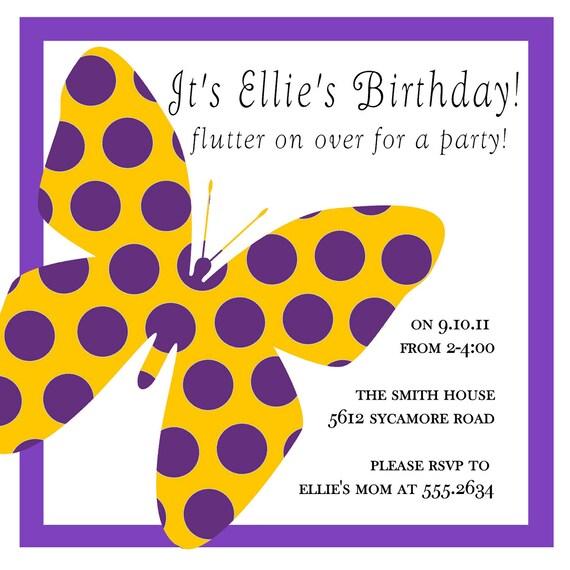 Polkadot butterfly invitation