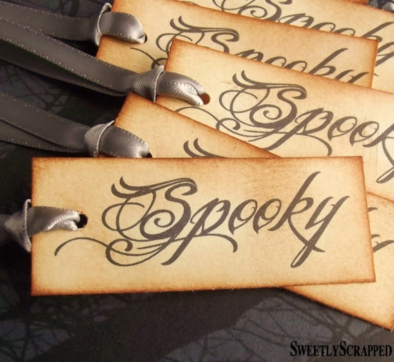 Spooky Halloween Tags - Script, Vintage Inspired, Black Text, Hand Aged, Silver Ribbon