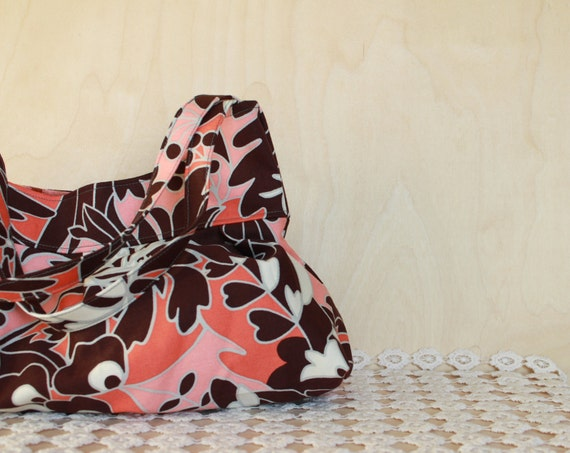 Hand Bag Purse, Pleated Shelly Bag in Blush Pink, Coral, and Brown Floral